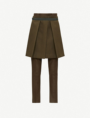 SACAI Hybrid mid-rise straight-leg wool-blend trousers