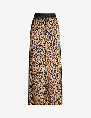 SACAI Leopard-print high-rise wide crepe trousers