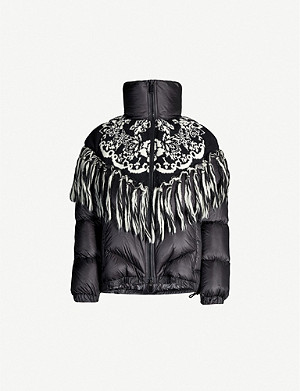 SACAI Knit-overlay nylon and wool-blend padded jacket