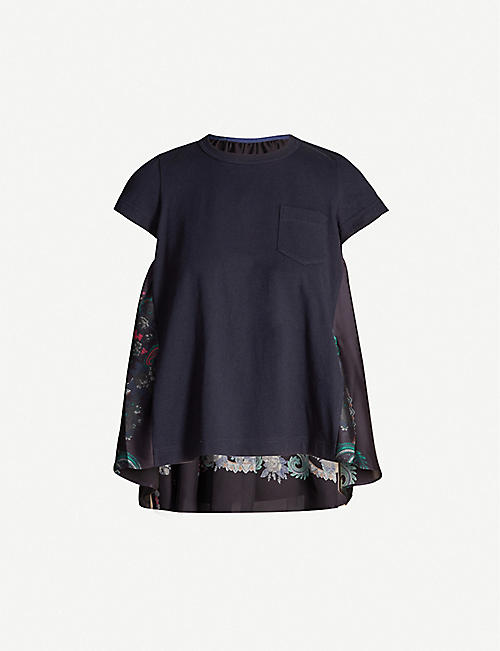 SACAI Printed-back cotton-jersey T-shirt