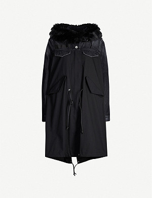 SACAI Deconstructed denim and nylon-blend coat