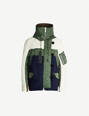 SACAI Panel wool-blend and cotton-blend jacket