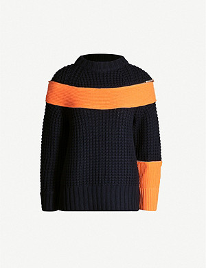 SACAI Contrast panel wool-blend knitted jumper
