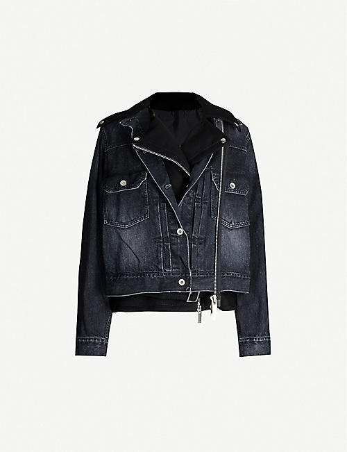 SACAI Denim and wool-blend jacket