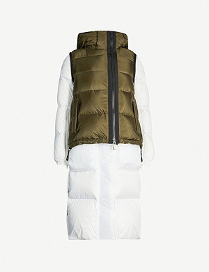 SACAI Hooded stand-collar padded shell coat gilet