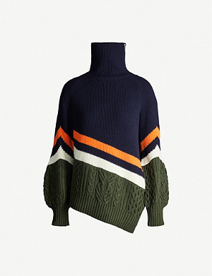 SACAI Deconstructed turtleneck wool-blend jumper