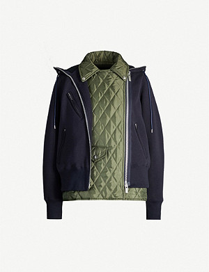 SACAI Cropped quilted woven and satin drawstring jacket