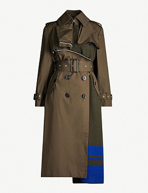 SACAI Blanket double-breasted cotton and wool-blend coat