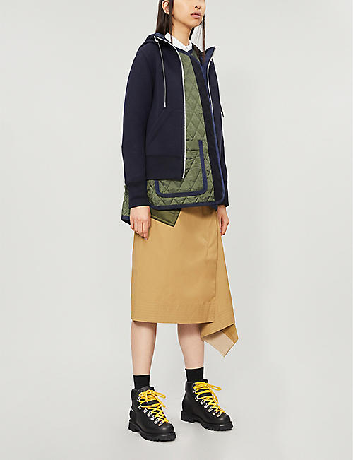 SACAI Layered cotton-blend and satin jacket