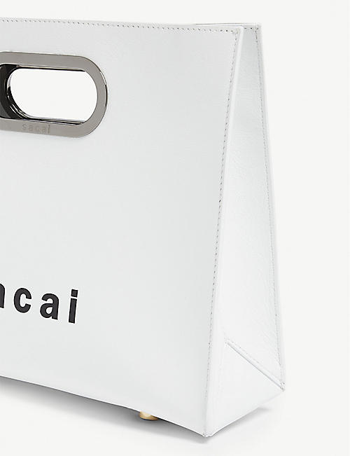 SACAI Logo small leather tote