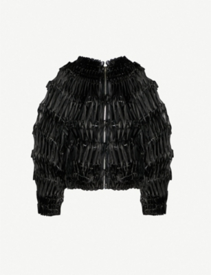 NOIR KEI NINOMIYA Pleated ribbon-detail tulle bomber jacket