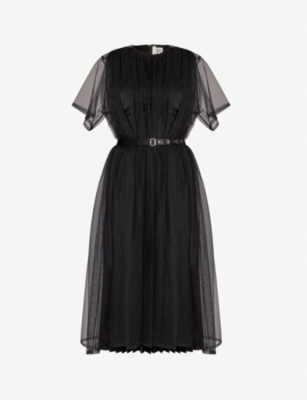 NOIR KEI NINOMIYA Tulle-overlay pleated-skirt dress