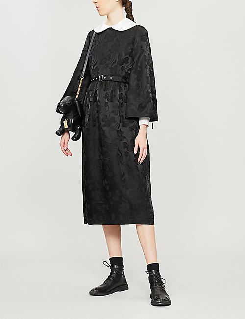NOIR KEI NINOMIYA Belted flared-sleeve floral-jacquard midi dress