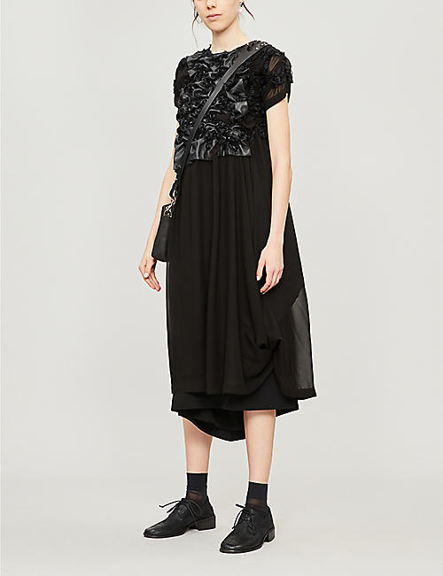 NOIR KEI NINOMIYA Crinkled faux-leather and crepe midi dress