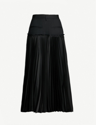 NOIR KEI NINOMIYA High-waist panelled pleated wool midi skirt