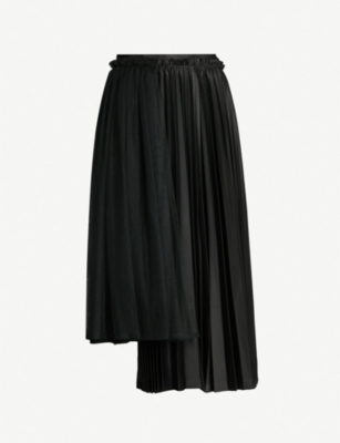 NOIR KEI NINOMIYA High-waist asymmetric pleated satin midi skirt