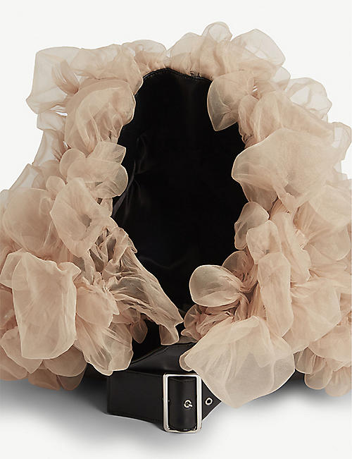 NOIR KEI NINOMIYA Tulle rose leather headpiece