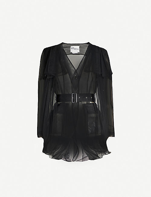 NOIR KEI NINOMIYA Gathered overlay sheer mesh jacket