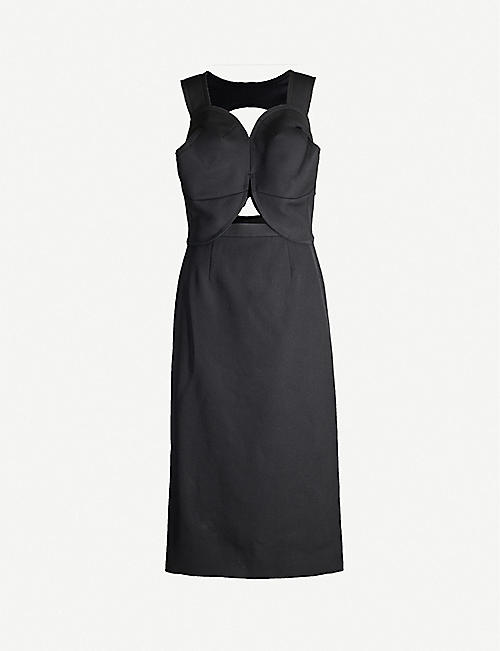 COMME DES GARCONS Cutout-detail wool midi dress