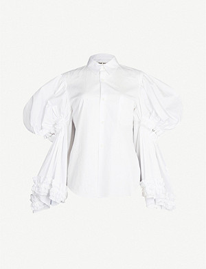 COMME DES GARCONS Frilled-trim cutout-sleeves cotton shirt