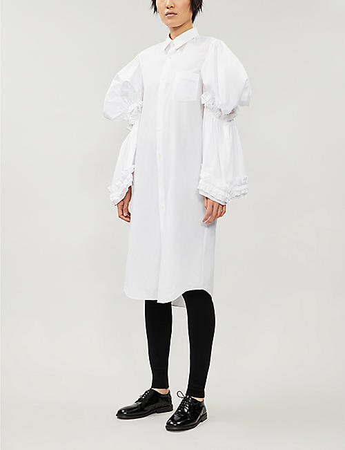COMME DES GARCONS Puffed-sleeve frilled cotton midi dress