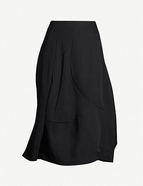 COMME DES GARCONS Loose-fit asymmetric-hem wool midi skirt