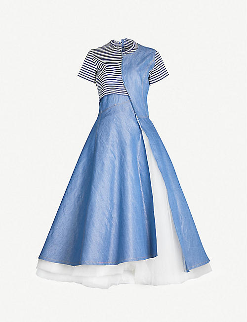 59951774870 JUNYA WATANABE Patchwork cotton and tulle-blend dress