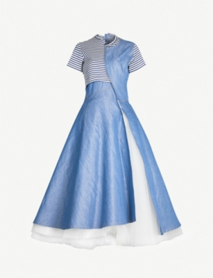 JUNYA WATANABE Patchwork cotton and tulle-blend dress