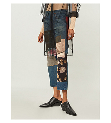 Junya Watanabe Clothing CONTRASTING PATCHWORK STRAIGHT HIGH-RISE JEANS