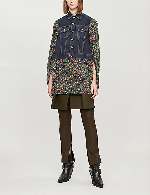 JUNYA WATANABE Floral-print denim and rayon jacket