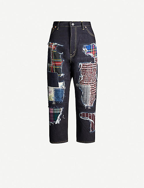 JUNYA WATANABE Patchwork high-rise tapered jeans