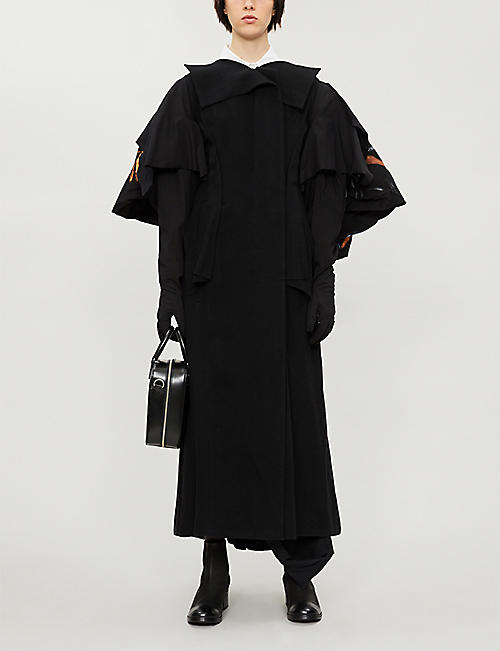 YOHJI YAMAMOTO Asymmetric wool-blend and cotton coat