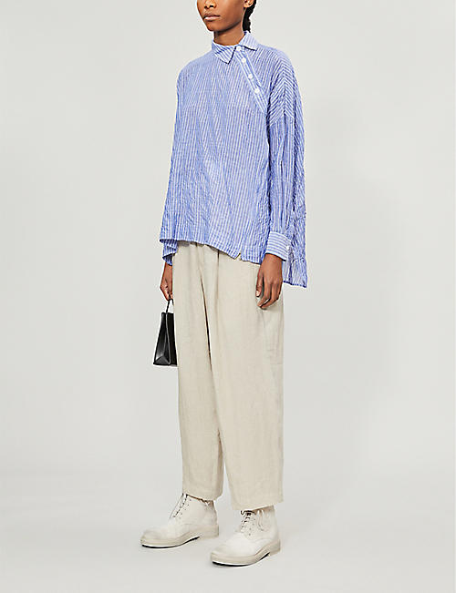 YOHJI YAMAMOTO Striped loose-fit tencel and cotton-blend shirt