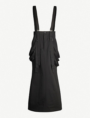 LIMI FEU Strappy high-waist cotton and linen-blend skirt
