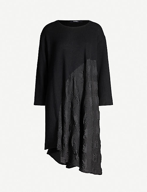LIMI FEU Asymmetric-panel wool-blend midi dress