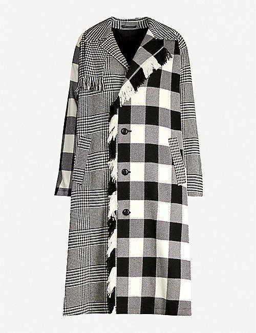 YS Fringed-trim panelled checked cotton-blend coat