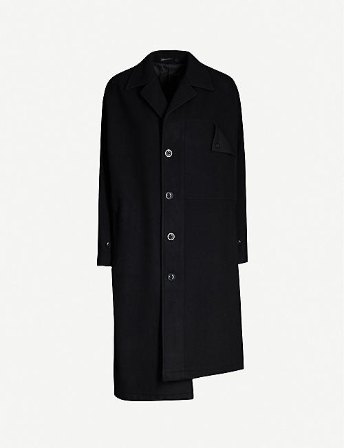 YS Asymmetric-hem wool coat