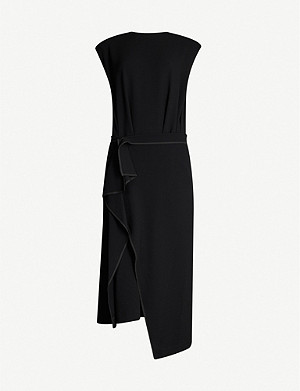 YS Draped asymmetric-hem woven dress