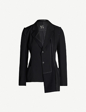 YS Contrast-stitch wool and wool-blend blazer