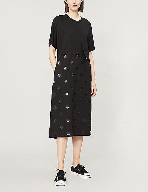 YS Polka-dot lyocell and cotton-blend dress
