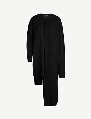 YS Contrast-panel knitted jumper