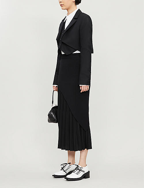 YS Asymmetric pleated rayon-blend midi skirt