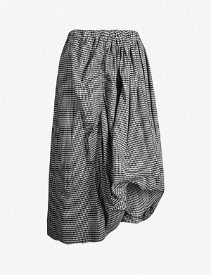 YS Gathered gingham-print cotton-blend midi skirt