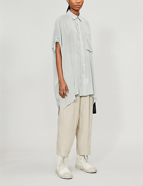 YS Oversized asymmetric-hem rayon and linen-blend shirt
