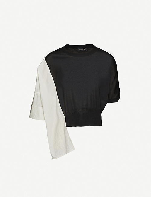 YS Colour-block cotton, rayon and silk-blend jumper