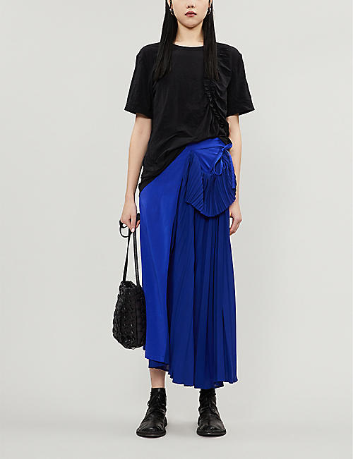 YS Asymmetric pleated crepe midi skirt