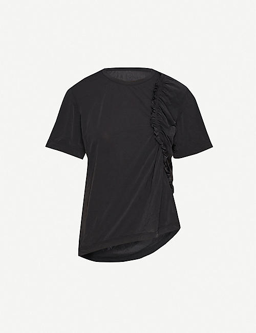 YS Gathered relaxed-fit crepe T-shirt