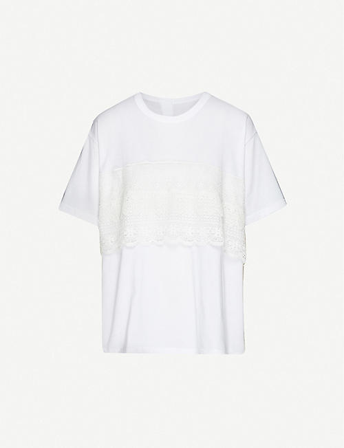 YS Lace-appliqué cotton-jersey T-shirt