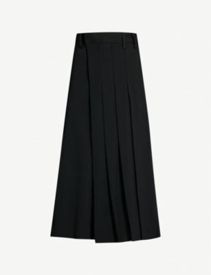 YS Assymetric pleated wool-blend culottes