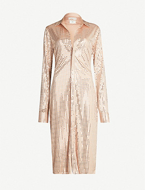 BOTTEGA VENETA Metallic flared-skirt mirrored midi dress